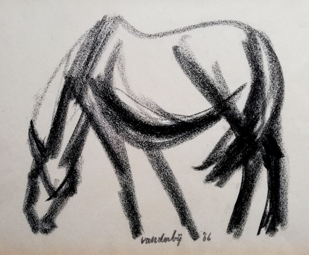 3 Hynder – 1966 – houtskool
